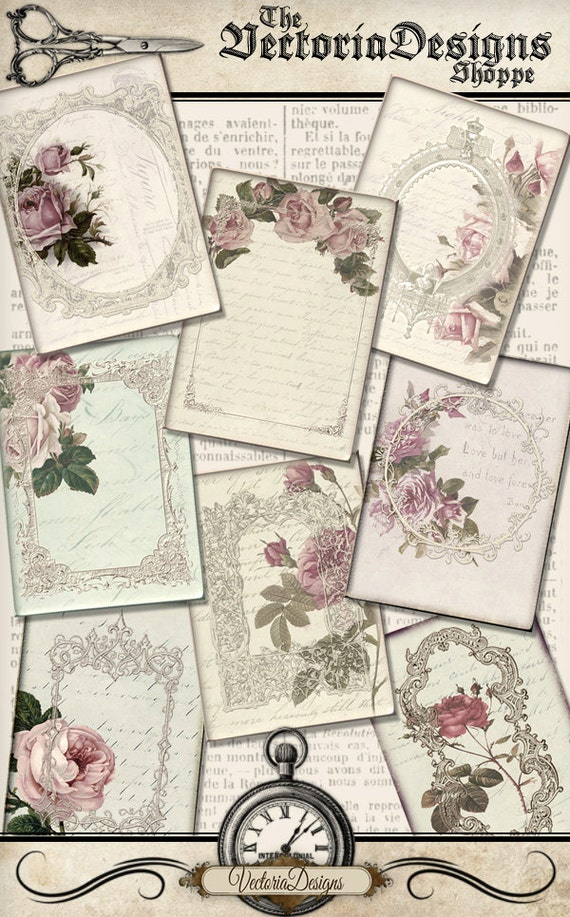 Flowers And Frames Atc Cards Printable 25 X 35 Inch Paper Etsy