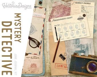 Mystery Detective Junk Journal Kit, Printable Junk Journal Kit, Journal Supplies, Journal Ephemera DIY, Journal Scrapbook Album 002189