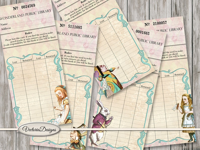 Alice in Wonderland Library Cards