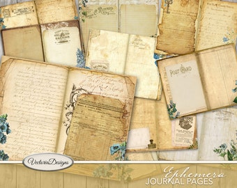 Ephemera Journal Pages, Printable Journal Pages, Digital Journal Pages, Junk Journal Pages, Craft Paper Pages, Printable Ephemera 002055