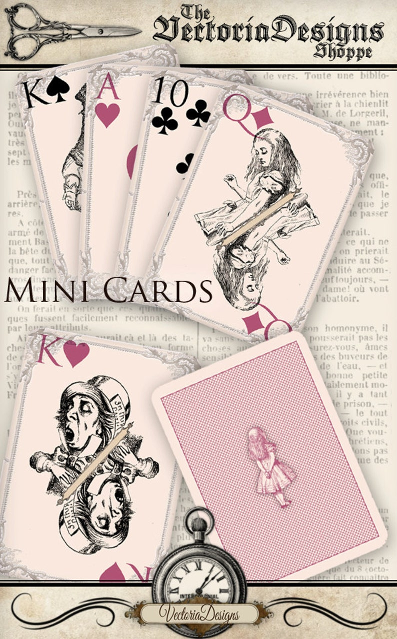 Alice in Wonderland MINI playing cards - full deck