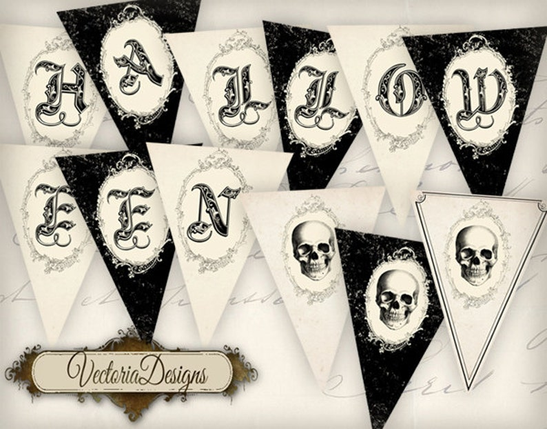 Printable Halloween Banner party banner instant download image 0