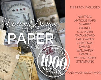 MEGA Paper Pack Digital Printable Sheet Paper Crafting Junk Journal Scrapbooking DIY papercraft background digital download - VDMPPA1634