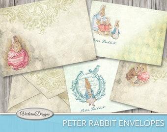 Peter Rabbit Envelopes, Digital Paper Envelopes, Writing Paper Stationery, Printable Envelopes, Beatrix Potter, Digital Download 001747