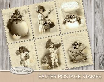 Easter Postal Stamps, Easter Decoration, Easter Stamps, Easter Paper, Easter Digital, Easter Printable, Easter Scrapbook, Instant 000374