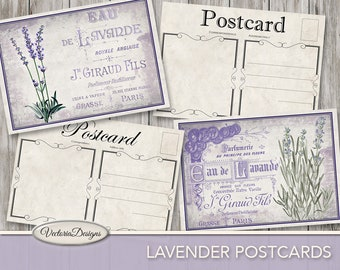 Lavender Postcards 5 x 3.5 inch printable back design printable paper crafting art instant download digital collage sheet - VDCAVI1419
