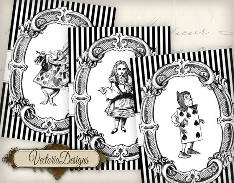 Alice in Wonderland ATC vintage images