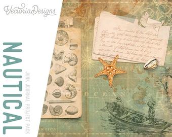 Nautical Junk Journal Kit, Printable Nautical Journal Kit, Nautical Junk Journal Pack, Embellishments, Scrapbook Junk Journal 002031