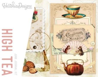 High Tea Junk Journal Kit, Junk Journal Printables, Junk Journal Ephemera, Junk Journal Supplies, Junk Journal Cover, Journal DIY  002093