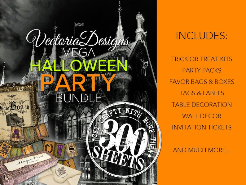 MEGA Halloween Party Bundle Printable Paper Crafting Trick or image 0