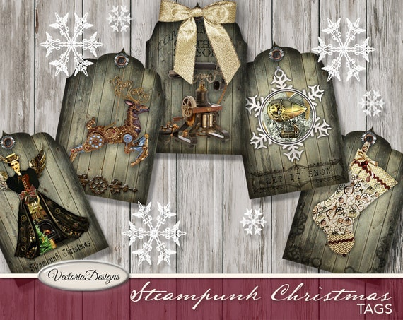 Steampunk Christmas Tags