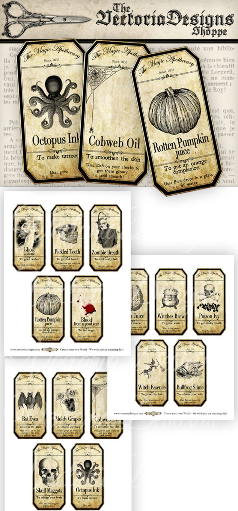 Halloween Decorations Apothecary Labels Steampunk Labels image 0