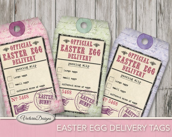Easter egg delivery tags packing slip printable gift tags negle Images