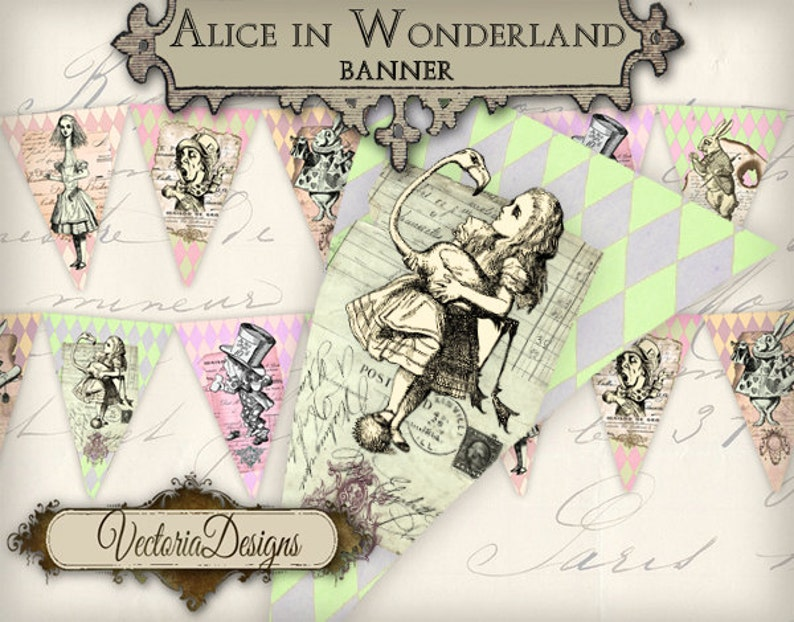 Alice in Wonderland Banner Printable Party Banner
