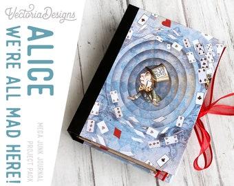 Alice We're All Mad Here, Alice in Wonderland Mega Junk Journal Kit, Digital Journal Kit, Junk Journal Supplies, Journal DIY, Kit 002090