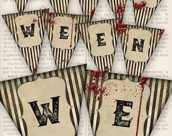 Halloween Banner printable halloween banner party decor diy paper crafting instant download digital collage sheet - VDBAHA1244