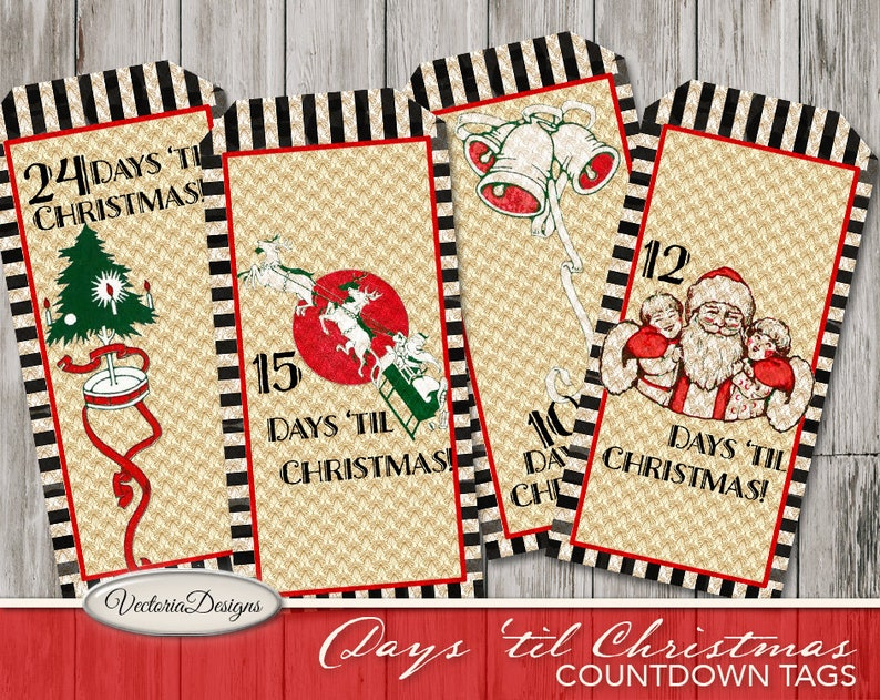 Christmas Countdown Tags printable Advent Calendar tags vintage gift tags digital graphics instant download Digital Sheet VDTACM1829