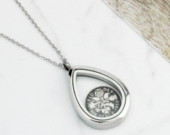 1961 60th Birthday Enamelled Sixpence Coin Teardrop Necklace
