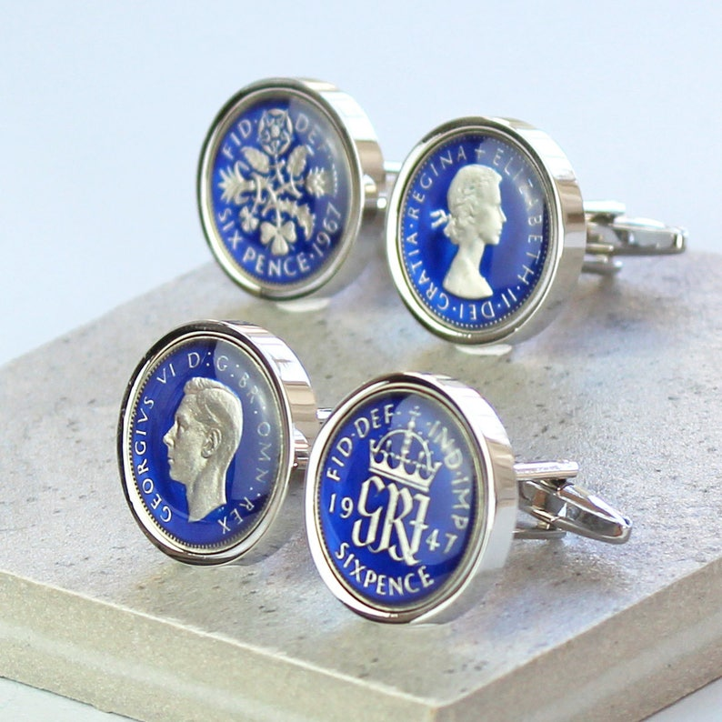 Great British enamelled coin cufflinks new half penny choice of color year