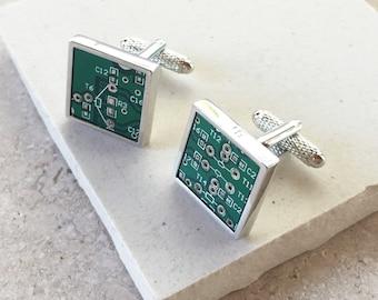 Genuine Circuit Board Cufflinks - Square with Silver Rim