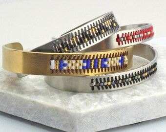 Beaded gold or silver cuff