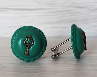 Key Cufflinks SPECIAL PRICE Green Handmade Cufflinks Keys Cuff Links Groomsmens gifts