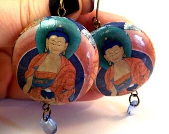 Buddha Earrings many designs Paper Earrings Buddha Zen Spiritual Earrings Laughing Buddha decoupage jewelry