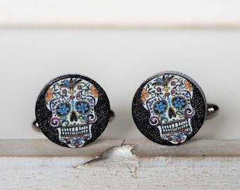 Sugar Skull Cufflinks Mexican Sugar Skull Day of The Dead Cufflinks Dia De Los Muertosb Sugar Skull Ring