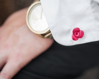 Red Rose Cufflinks many colors Flowers Lapel Pin Tattoo Style Wedding Cufflinks Rose Tie Pin