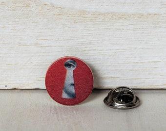 Lina Cavalieri Red Keyhole Tie Tack Lina Cavalieri Tie Pin Muse Wedding Wooden Tie Clip Grooms
