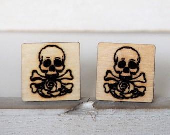 Skull and Rose Cufflinks Skull and Bones Cufflinks Engraved Skull Grooms Cufflinks Skull Square