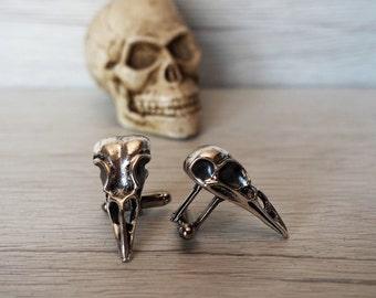 Raven Skull Cufflinks Men's skull accessories rocker cuff links ravens