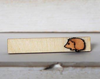Hedgehog Tie Clip Laser Cut Hedgehog Tie Bar Wood Mens accessories Hedgehog Tie Tack Hedgehogs lovers