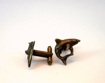 Shark Cufflinks Bronze Tone Sharks Jaws Mens Accessories Groomsmens gifts Grooms Sea Life