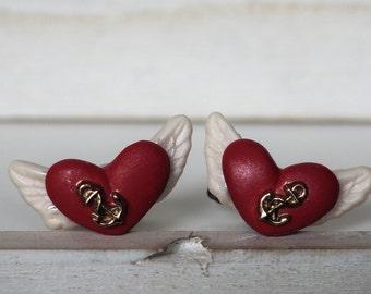 Heart Cufflinks Flying Heart Cufflinks Angel Wings Tattoo Style Heart with wings