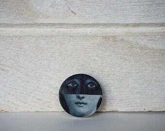 Lina Cavalieri Brooch Black and White Brooch Wood Pin Muse Brooch