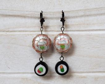 Sushi Roll Earrings Sushi Maki Japanese Earrings Miniature Food Jewelry Sushi Earrings Gift for her Food gift earrings