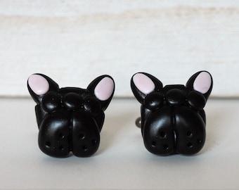 French Bulldog Cufflinks SPECIAL DISCOUNT Black French Bulldog Cufflinks Black Dog Cuff Links French Bulldog Gift Mens Jewelry