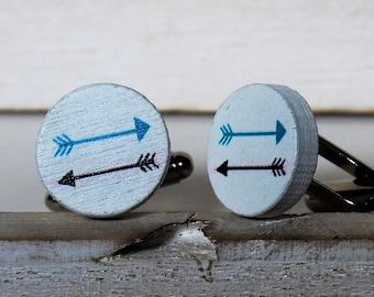 Arrows Cufflinks or Tie Tack Arrows Wood Cuff Links White Arrow Cufflinks Grooms Wedding Gifts