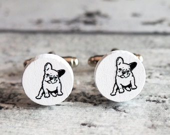 French Bulldog Cufflinks or Tie Tack Wooden Dog Cuff Links French Bulldog Cufflinks French Bulldog Ring