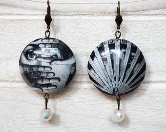 Lina Cavalieri Earrings different designs Black and White Decoupage Earrings Opera Singer Diva Muse Earrings