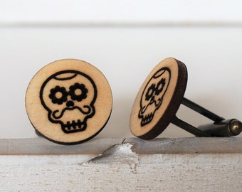 Skull Cufflinks Mustache Mexican Sugar Skull Cufflinks Dia De Los Muertos Day of The Dead