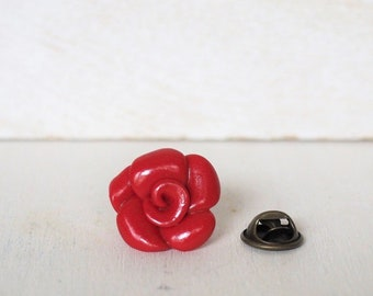 Rose Lapel Pin Rose in many colors Red Flower Lapel Pin Wedding Rose Tie Clip