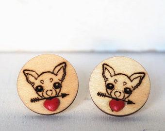 Chihuahua Cufflinks Red Heart Chihuahuas Cufflinks Wedding Grooms Red Heart Chiwawa Lovers