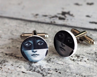 Lina Cavalieri Cufflinks or Tie Tack Muse Cuff Links Black and White Tie tack Mens Jewelry iconic female face