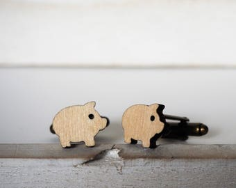 Pig Cufflinks Laser Cut Piggy Cuff Links Wood mens accessories Little pig lovers Wedding cufflinks Farm animal