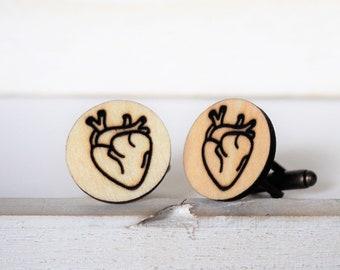 Anatomical Heart Cufflinks Heart Cufflinks Wooden Accessories Mens Wedding Jewelry Groomsmen