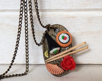Sushi Necklace Japanese Sushi Plate Miniature Food Jewelry Sushi Dinner Jewelry Sushi Rolls Necklace Gift for her