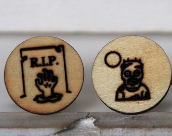 Zombie Cufflinks Walking Dead Cufflinks RIP Tombstone Cufflinks Wooden Accessories