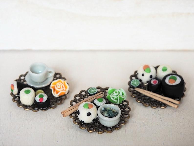 Sushi Dinner Brooch Japanese Sushi Plate Miniature Food image 0